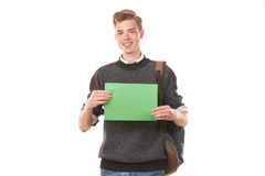 Estudiante adolescente con el papel en blanco Fotos de archivo libres de regalías