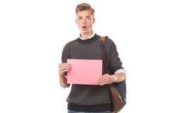 Estudiante adolescente con el papel en blanco Imagenes de archivo
