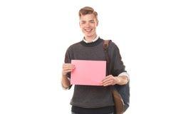 Estudiante adolescente con el papel en blanco Imagen de archivo libre de regalías