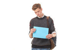 Estudiante adolescente con el papel en blanco Imágenes de archivo libres de regalías