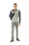 Estudiante adolescente con la mochila en blanco Foto de archivo