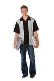 Estudiante: Adolescente con los libros y el ordenador Fotos de archivo