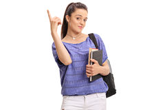 Estudiante adolescente femenino que destaca con su finger Imágenes de archivo libres de regalías