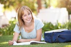 Estudiante adolescente femenino que estudia en parque Imagen de archivo libre de regalías