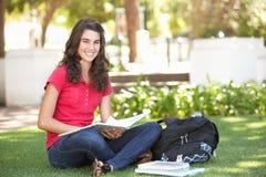Estudiante adolescente femenino que estudia en parque Fotos de archivo libres de regalías
