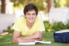 Estudiante adolescente masculino que estudia en parque Fotos de archivo libres de regalías