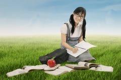 Estudiante adolescente que estudia en prado Foto de archivo