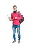 Estudiante adolescente que sostiene el bolso y los libros Fotografía de archivo