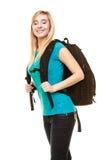 Estudiante adolescente sonriente de la muchacha con la mochila del bolso Fotos de archivo libres de regalías