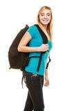 Estudiante adolescente sonriente de la muchacha con la mochila del bolso Foto de archivo libre de regalías