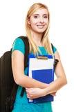 Estudiante adolescente sonriente de la muchacha con los libros Foto de archivo