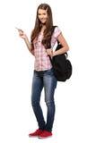 Estudiante agradable con el bolso de libro en estudio Fotografía de archivo libre de regalías