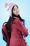 Estudiante alegre que lleva la ropa hecha punto Imagen de archivo