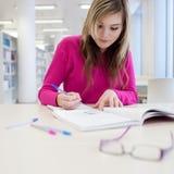 Estudiante bonito, femenino con la computadora portátil y libros Imagenes de archivo