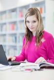 Estudiante bonito, femenino con la computadora portátil y libros Imagen de archivo