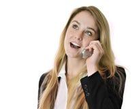 Estudiante bonito joven de la mujer de negocios en el teléfono celular Foto de archivo