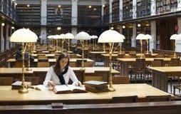 Estudiante bonito que estudia en biblioteca fotografía de archivo