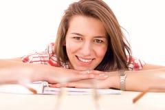 Estudiante bonito sonriente feliz Fotografía de archivo