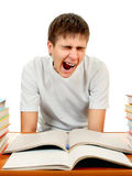 Estudiante cansado con los libros Fotografía de archivo