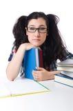 Estudiante cansado con los libros de texto Imagen de archivo libre de regalías