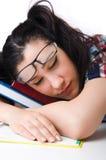 Estudiante cansado con los libros de texto Fotografía de archivo libre de regalías