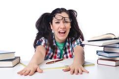 Estudiante cansado con los libros de textos Fotos de archivo libres de regalías