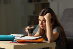 Estudiante cansado que estudia las últimas horas que beben el café imagen de archivo