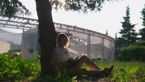 Estudiante caucásica que se sienta debajo del árbol y que lee un libro en la puesta del sol del verano metrajes
