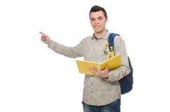 Estudiante caucásico sonriente con la mochila y el libro aislados en whi Fotografía de archivo libre de regalías