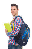 Estudiante caucásico sonriente con la mochila y el libro aislados en whi Imagen de archivo libre de regalías