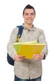 Estudiante caucásico sonriente con la mochila y los libros en wh Foto de archivo