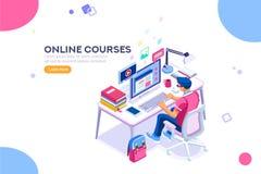 Estudiante Character Study para la graduación de la universidad o de la universidad ilustración del vector