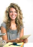 Estudiante con el espejo Fotografía de archivo libre de regalías