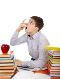 Estudiante con el inhalador Imágenes de archivo libres de regalías