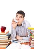 Estudiante con el inhalador Fotos de archivo