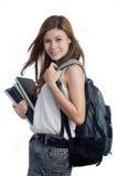 Estudiante con el morral y los libros Fotografía de archivo