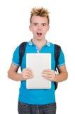 Estudiante con el ordenador portátil aislado en blanco Foto de archivo libre de regalías