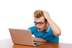 Estudiante con el ordenador portátil aislado en blanco Fotos de archivo libres de regalías