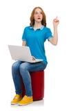 Estudiante con el ordenador portátil en blanco Foto de archivo libre de regalías