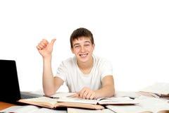 Estudiante con el pulgar para arriba Imagen de archivo libre de regalías