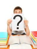Estudiante con el signo de interrogación Imágenes de archivo libres de regalías