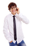 Estudiante con el teléfono celular Fotografía de archivo libre de regalías