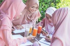 Estudiante con la bufanda principal que estudia junto Imagenes de archivo