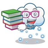 Estudiante con la historieta del carácter de la nube de la nieve del libro Fotos de archivo