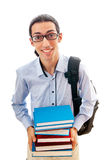 Estudiante con la pila de libros Fotografía de archivo