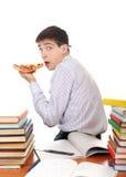Estudiante con la pizza Fotos de archivo