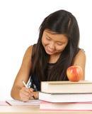 Estudiante con la pluma y el cuaderno Fotografía de archivo