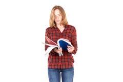 Estudiante con los cuadernos Imagen de archivo libre de regalías