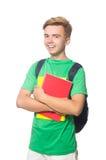 Estudiante con los libros de texto aislados Foto de archivo