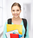 Estudiante con los libros y la cartera Fotografía de archivo libre de regalías